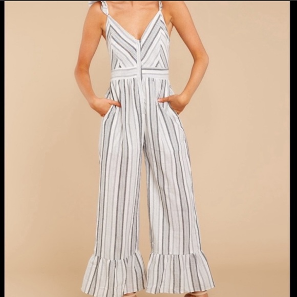 Storia Striped Bell Bottom Jumpsuit Ruffled Size M
